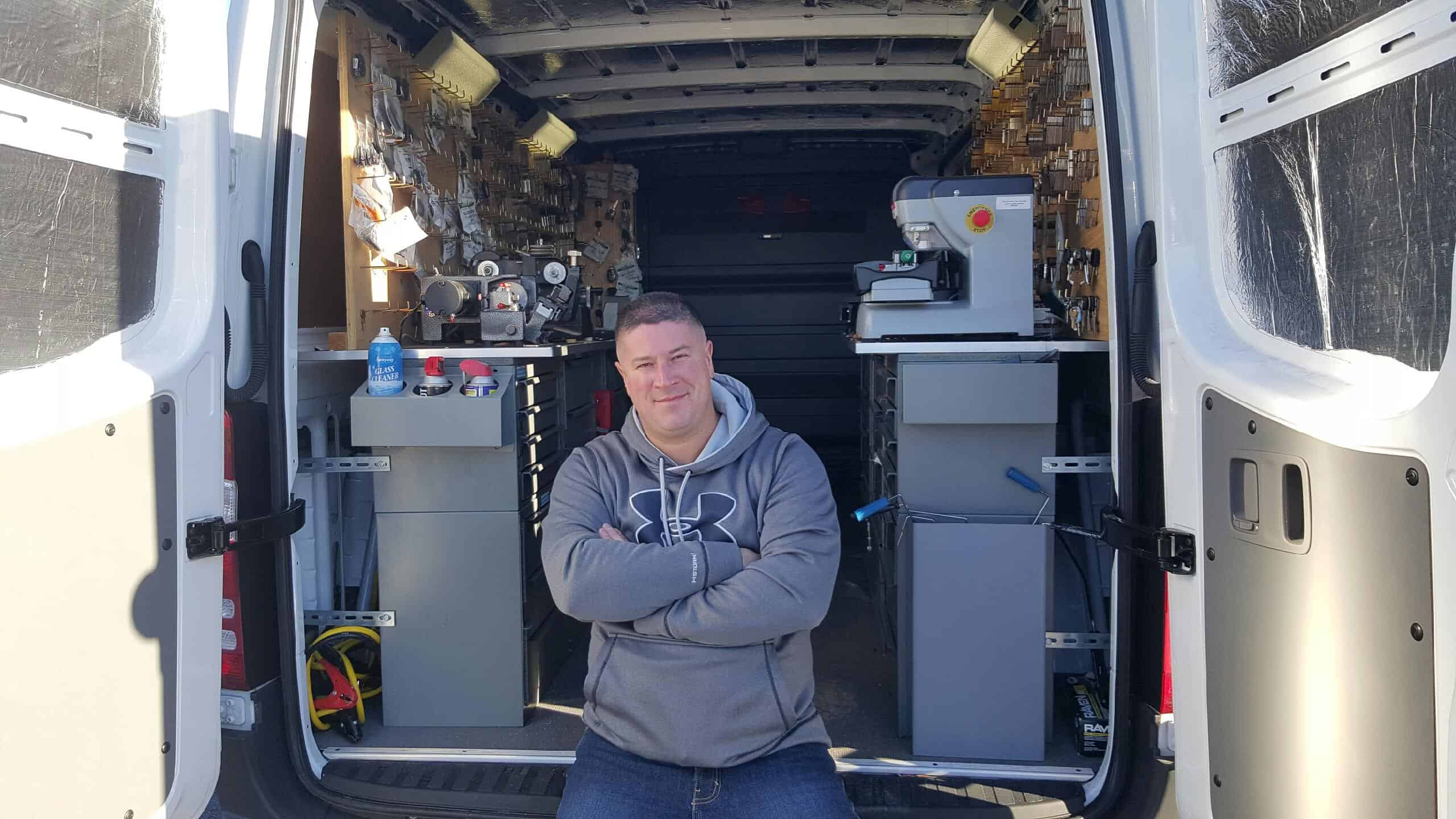 Owner Ameer Mandilawi and his mobile locksmith work truck in Albuquerque and Rancho Rio